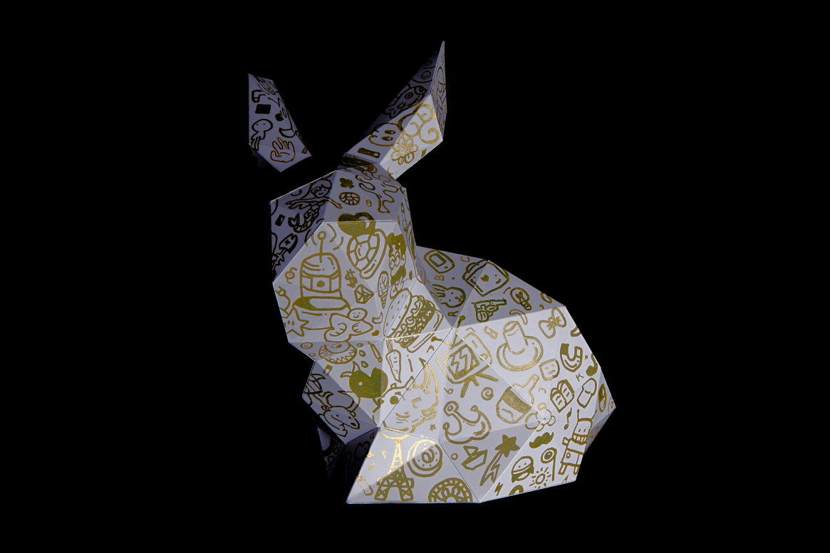 Paper Papier Stanford Rabbit Origami Doodle low poly