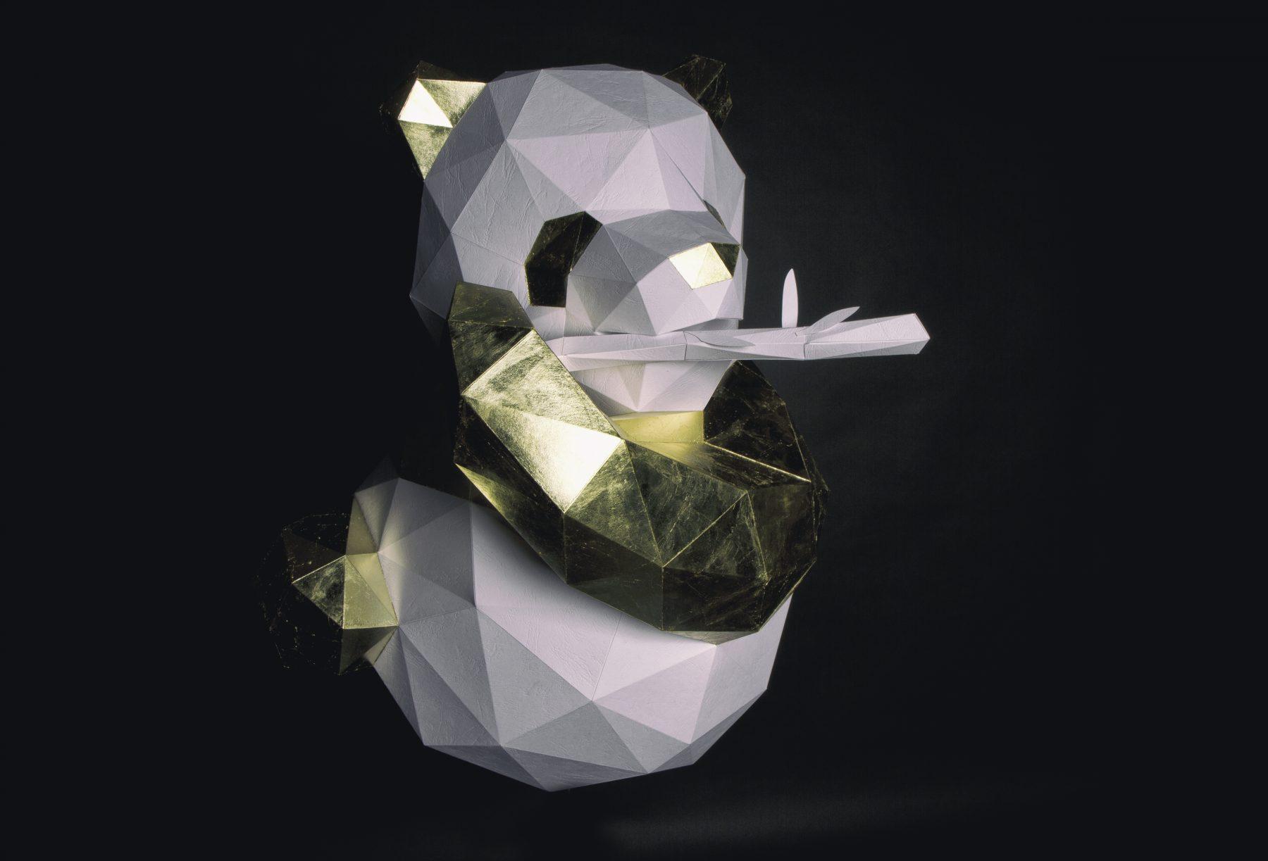 Paper Papier Chengdu Panda Origami Gold Leaf Dorure low poly