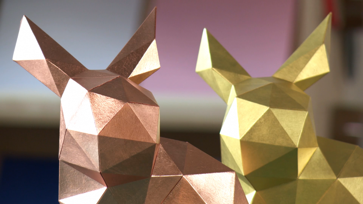 Paper Papier Stanford Rabbit Origami Gold Leaf low poly