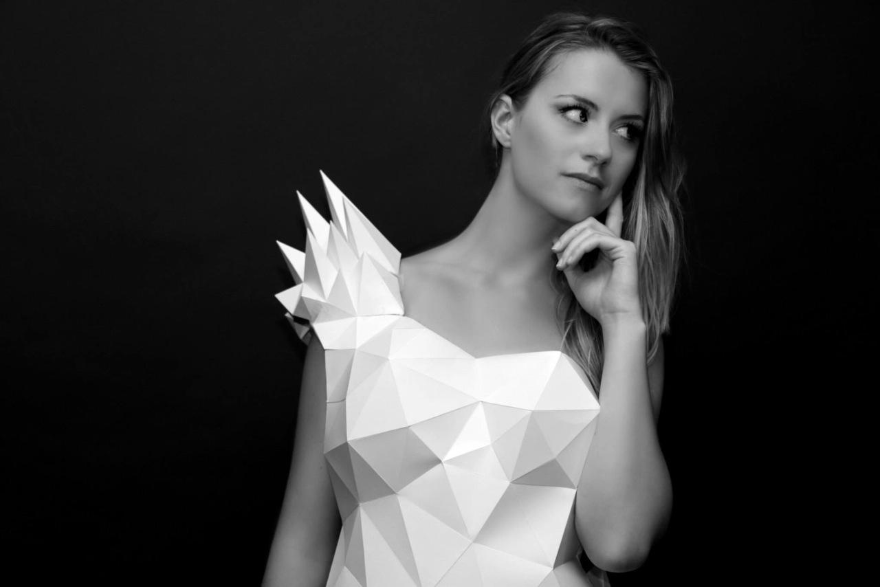 Paper Wedding Dress Origami low poly