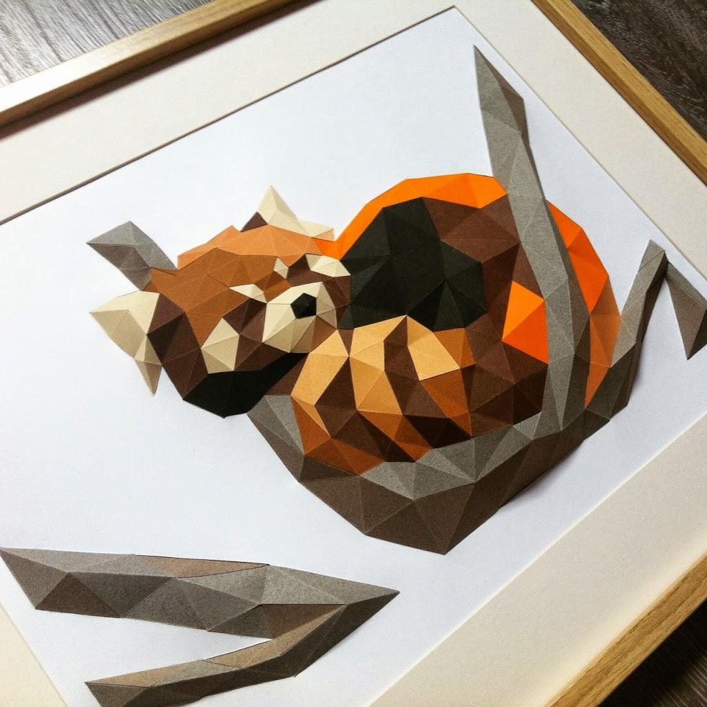 Panda Paper Papier Origami low poly