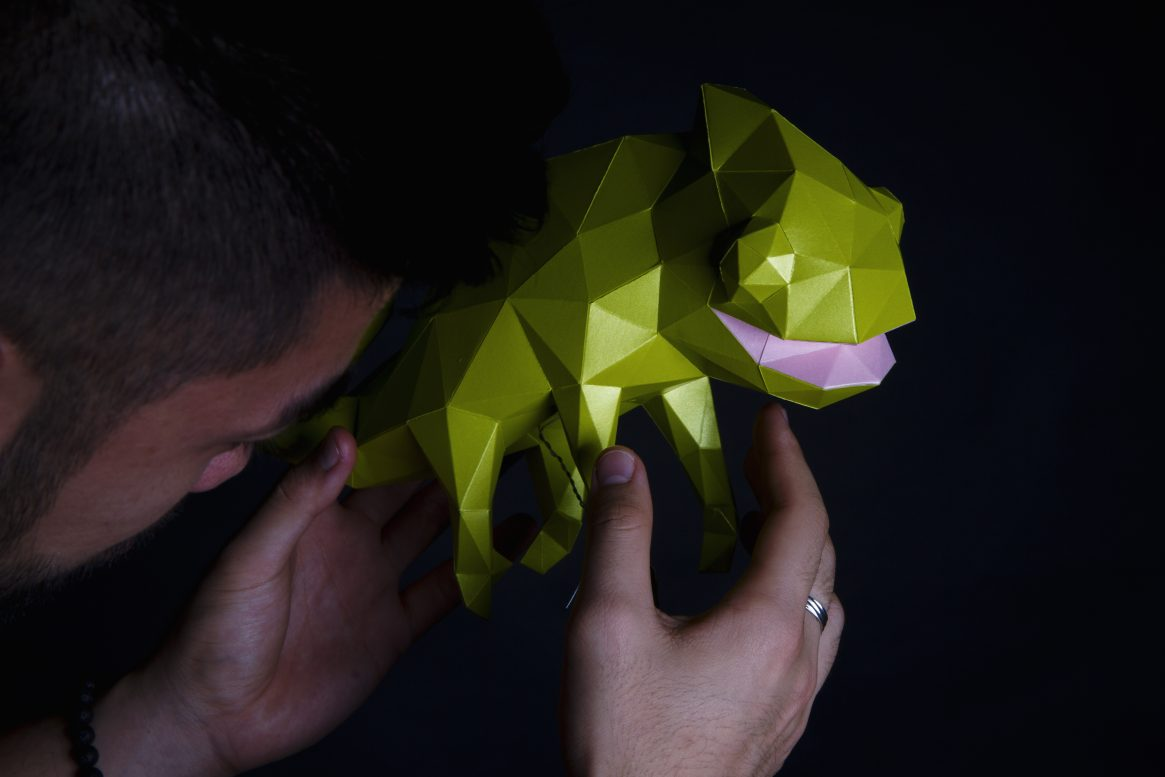 Paper Papier Chameleon Origami low poly