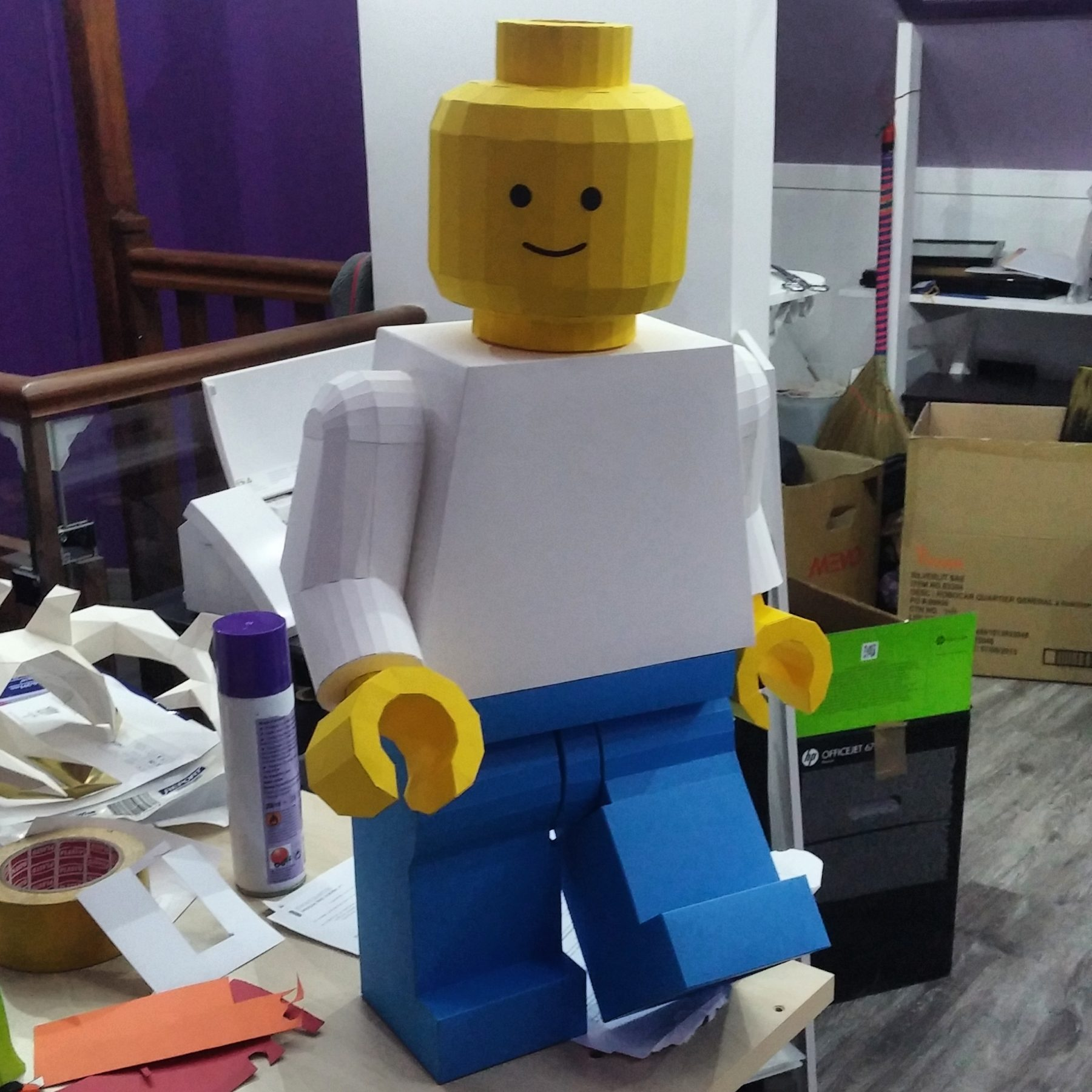Paper Papier Lego Man Origami low poly