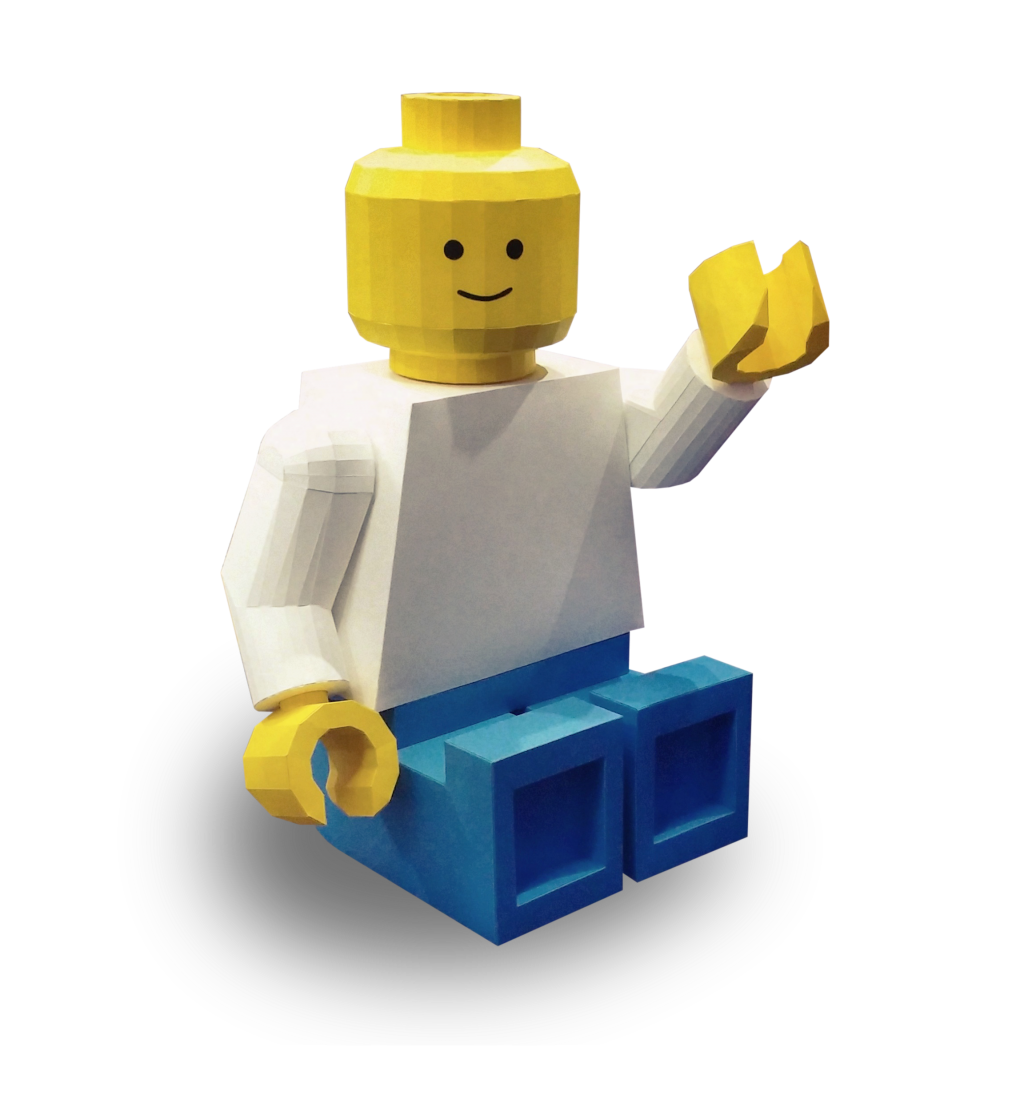 Paper Papier Lego Man Origami Sit low poly