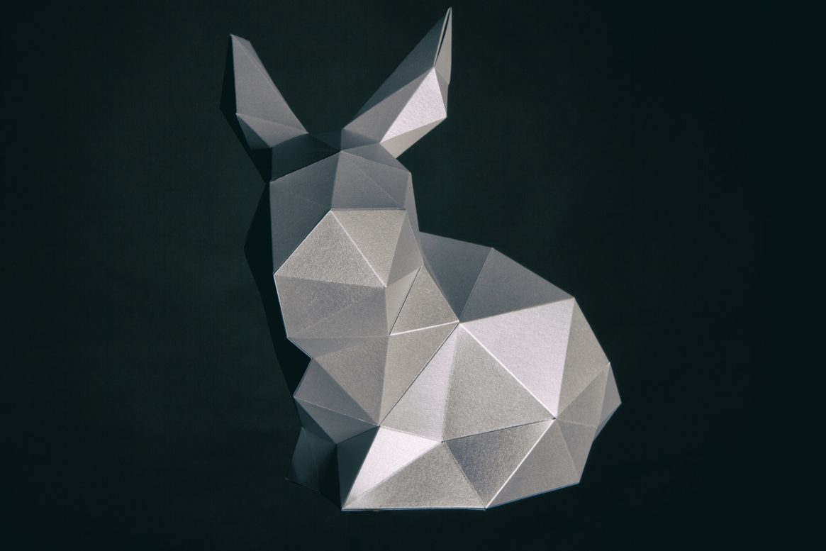 Paper Papier Stanford Rabbit Origami low poly